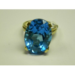 Ladies 10K oval blue ring, pre-owned