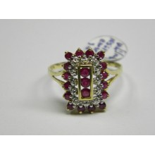 Ladies 14K ruby and diamond rectangle cluster