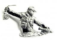 Pewter pin Fly Fisherman 910
