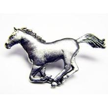Pewter pin Horse Running 443